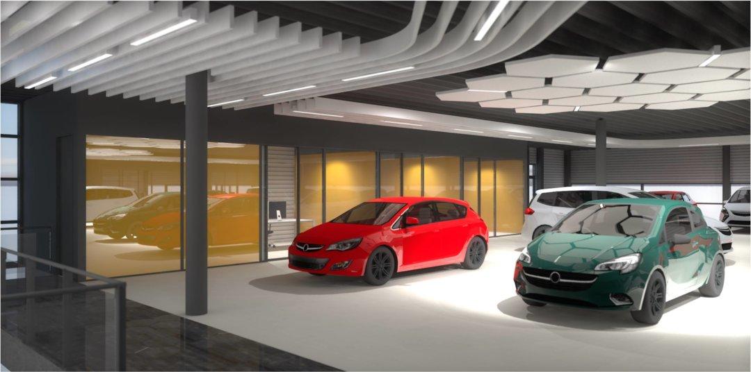 Interieur Opel dealer 3D render showroom