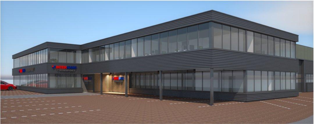 3d render renovatie in- en exterieur bedrijfspand Intersport Twinsport, Ontwerp zijaanzicht (render)