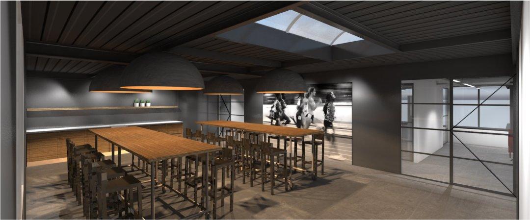Ontwerp-3d render renovatie in- en exterieur bedrijfspand Intersport Twinsport