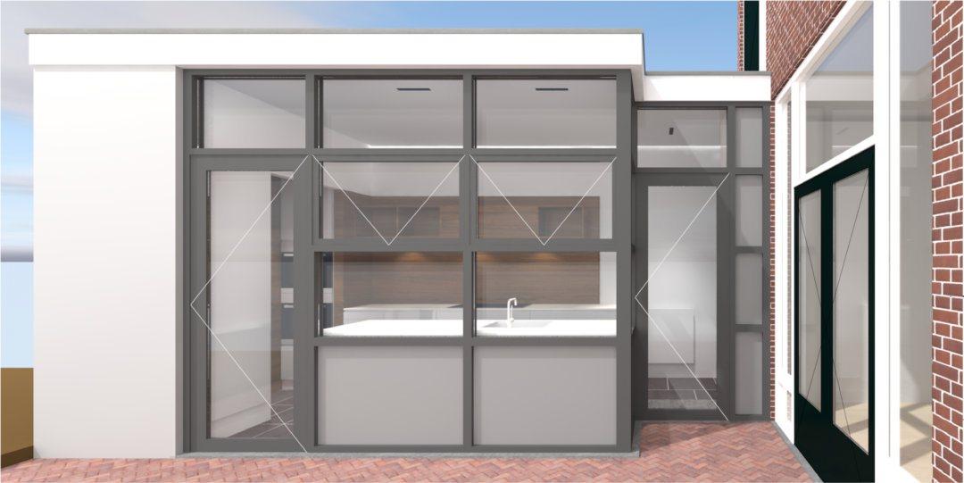 Keuken geplaatst in een aanbouw.
