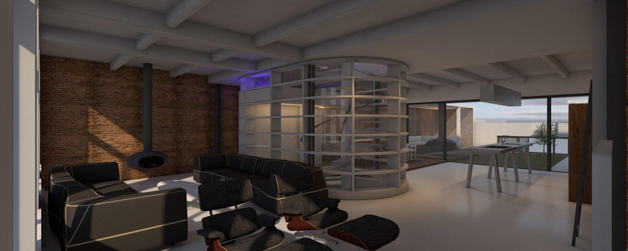 Zicht op het centrale deel met trap, toilet en boekenkast