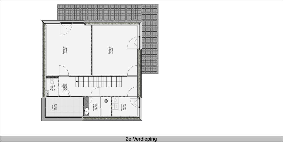 Bovenverdieping met twee slaapkamers