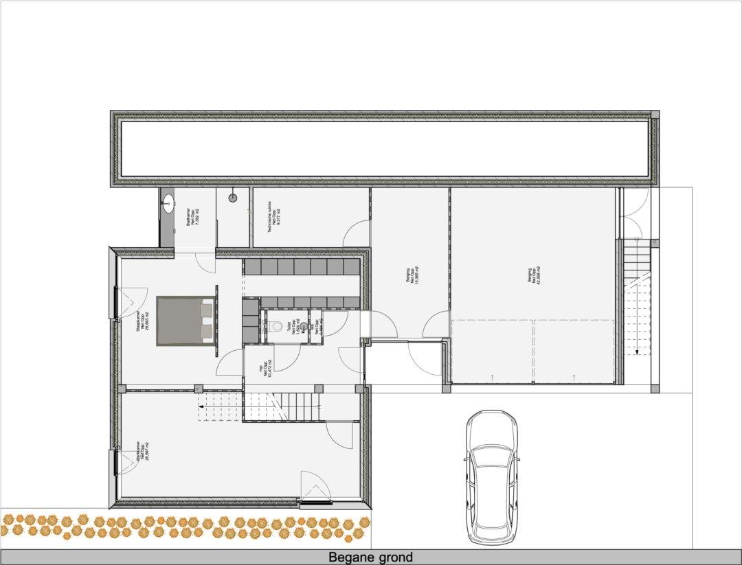 Plattegrond voor een woonhuis met zwembad