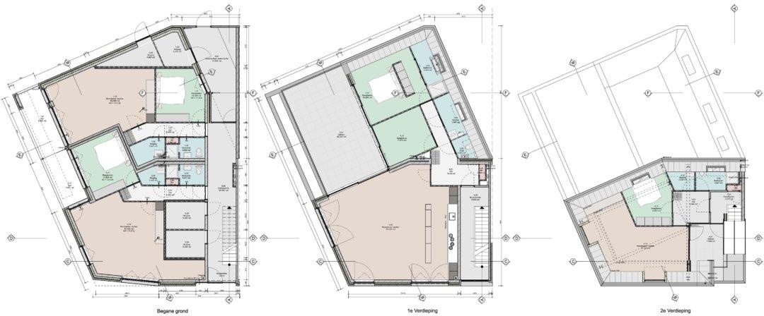 Plattegronden 4 appartementen te Woerden