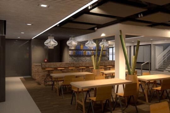 Modern en eigentijds interieur, zicht op de bar, ontmoetingsruimte in zalencentrum De Bron